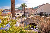 Korcula Town Gate And Historic Architecture View, Historic Tourist Destination In Archipelago Of Sou poster