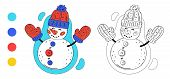 Coloring Page Outline Of Cartoon Cute Snowman With Knitted Hat And Mittens. Monochrome And Colored V poster