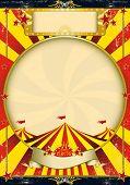 Zirkus Vintage Poster für Rot und gelb. Grunge jahrgang Poster mit einem Zirkuszelt für Ihr advertisin