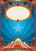 blue circus background. A blue circus background for a poster with a spot light. Writing your message !
