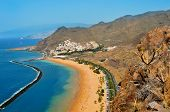 stock photo of canary  - Aerial view of Teresitas Beach in Tenerife - JPG