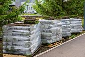 Stacks Of Sod Rolls For New Lawn For Landscaping. Lawn Grass In Rolls On Pallets Against Of The Stre poster