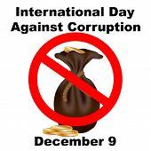 International Anti-corruption Day Icon, Logo, Symbol, Sign. Isolated On White Background. Anti Corru poster
