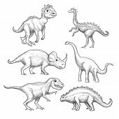 Dinosaur. Paleontology Exhibition Collection Herbivorous Extinction Dinosaurs In Action Poses Hand D poster