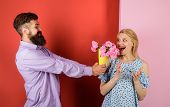 Couple In Love With Bouquet Of Flowers. Handsome Bearded Man Gives Bouquet Of Flowers To Woman. Love poster