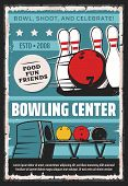 Bowling Center, Sport Game Club And League Tournament Vintage Retro Poster. Vector Bowling Game Club poster