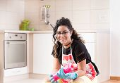 Pretty Young Housewife Holding Bottle Of Disinfectant For Kitchen Floor Cleaning poster