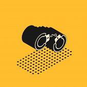 Isometric Sexy Fluffy Handcuffs Icon Isolated On Yellow Background. Handcuffs With Fur. Fetish Acces poster