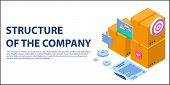 Company Structure Concept Banner. Isometric Illustration Of Company Structure Vector Concept Banner  poster