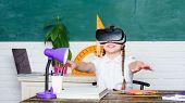 Girl Kid Study In Virtual School. Virtual Education. Child Cute Pupil Wear Hmd Vr Glasses. Virtual T poster