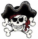 Vintage pirate skull theme 1 - vector illustration.