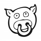 stock photo of nose ring  - cartoon pig with ring in nose - JPG