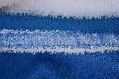 Color Texture From Abstraction With Distortion Of White And Blue Stripes On The Fabric poster