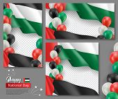 United Arab Emirates Patriotic Templates Set. Fluttering Flag And Colorful Helium Balloons On White  poster