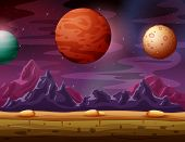 Red Planet Landscape With A View To Other Beautiful Planets poster