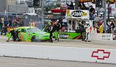NEWTON, IA - MAY 20, 2012:  Danica Patrick (7) brings her car in for service during the Pioneer Hi-B