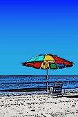 Colorful Beach Umbrella Illustration