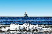 Sailboat with Crashing Surf Illustration