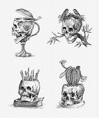 Human Skull. Retro Old School Sketch For Tattoo In Vintage Style. Monochrome Wine Goblet, Cactus And poster
