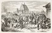 Polish January uprising: Galician volunteer troops arrival in Druszkopol, Volhynia, Poland. Created by Worms after Boni, published on L'Illustration, Journal Universel, Paris, 1863