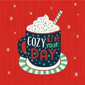 Hot Cocoa Mug Whipped Cream Flat Vector Icon. Winter Hot Chocolate Cup Marshmallow Cartoon. Cute Han poster