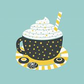 Hot Cocoa Mug Whipped Cream Flat Vector Icon. Hot Chocolate Cup, Marshmallow, Cookie Cartoon. Cute H poster