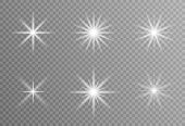 White Glowing Light Explodes On A Transparent Background. Sparkling Dust Particles. Bright Star. Tra poster