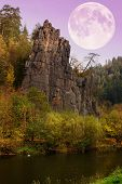 The Granite Rock Town Of Svatos Rocks And Full Moon / Svatosske Skaly.traditional Cruise Place. Nati poster