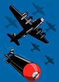 Bomber Plane Dropping Bombs