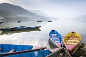 Boats On Fewa Lake In Pokhara