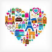 Pars amor - ilustração vetorial com conjunto de ícones