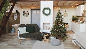 Festive Interior In Christmas Decorations. Christmas Living Room Or Dining Room. Beautiful New Year  poster