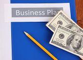 Blue folder labeled business