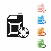 Black Antifreeze Canister Icon Isolated On White Background. Auto Service. Car Repair. Set Icons Col poster