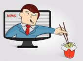 Hungry Anchorperson Got Out Of The Tv To Eat Noodles. Funny News Anchor On Tv Breaking News Backgrou poster