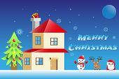 Christmas Background Illustration , Winter House, Snow Flake, Winter Night , Christmas Day, Holiday, poster