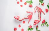 Coral Sandals On White Background Flat Lay, Top View Trendy Fashion Feminine Background. Beauty Blog poster