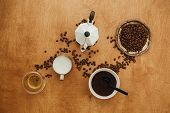 Flat Lay Of Making Coffee. Roasted Coffee Beans, Grounded Coffee, Geyser Maker, Milk And Espresso In poster