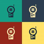 Color Baby Monitor Walkie Talkie Icon Isolated On Color Background. Vintage Style Drawing. Vector Il poster