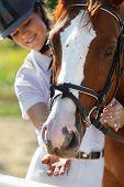 Portrait of  female jockey feeding purebred horse