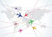 Vector World Travel Map con aviones
