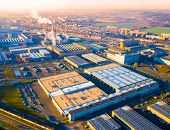 Aerial view to industrial zone and technology park on Karlov suburb of Pilsen city in Czech Republic poster