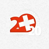 Happy New Year 2020 For Switzerland On Snowflake Background. Greeting Switzerland With New 2020 Year poster