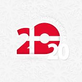 Happy New Year 2020 For Denmark On Snowflake Background. Greeting Denmark With New 2020 Year. poster
