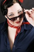picture of rockabilly  - Portrait of a lovely girl dressed in Rockabilly fashion - JPG