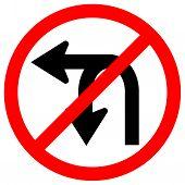 Do Not Turn Left Or U- Turn Left Traffic Road Sign,vector Illustration, Isolate On White Background  poster