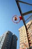 pic of bounce house  - an image of playing basketball at the outside