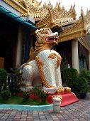 White Guardian Lion In Burmese Temple poster