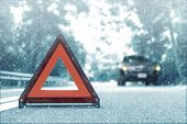 Snow Time Black Car Have Accident Park On Road. Red Triangle, Red Emergency Stop Sign, Red Emergency poster