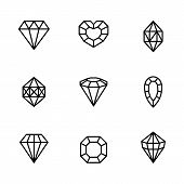 Set Of Gemstone Icons In A Linear Minimal Style. Vector Diamonds And Gems Linear Logo Design Element poster